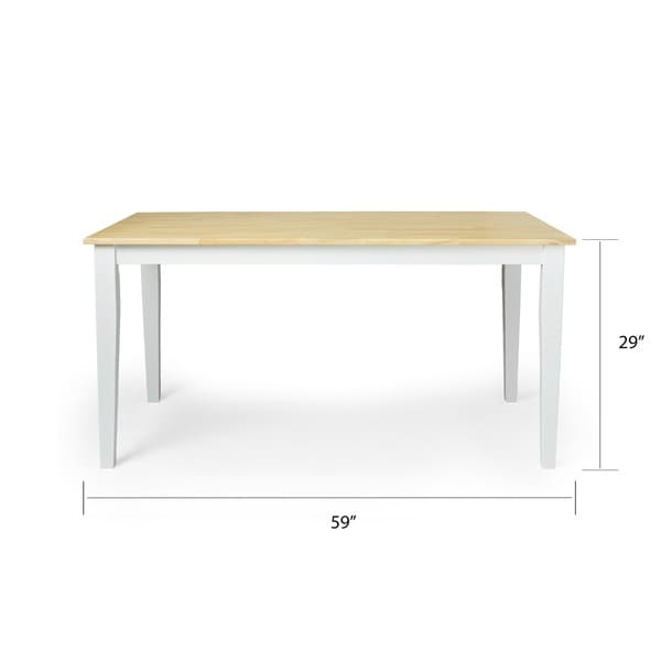 simple living large shaker dining table in white and natural free shipping today