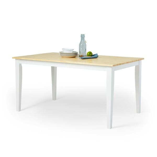 Simple Living Large Shaker Dining Table In White And Natural   Free  Shipping Today   Overstock.com   14794471