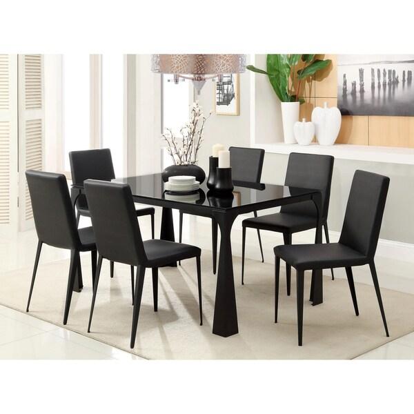 Furniture of America Basuki 7-piece BlackTempered Glass Dining Set