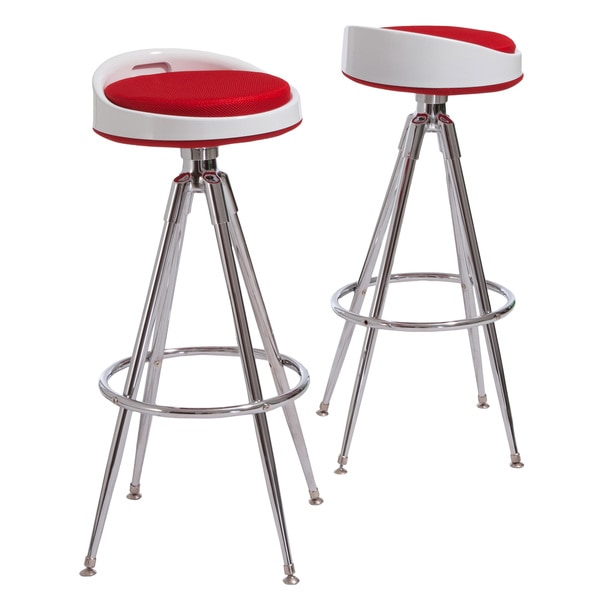 Valeria Red Fabric Barstools (Set of 2) by Christopher Knight Home
