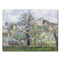 Camille Pissarro 'The Garden at Pontoise 1877' Canvas Art - Multi