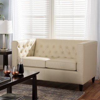 Baxton Studio Darrow Cream Modern Leather Loveseat