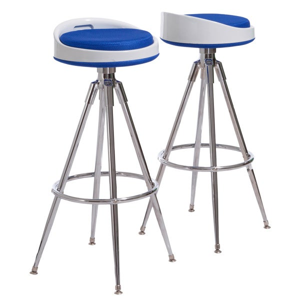 Valeria Blue Fabric Barstools (Set of 2) by Christopher Knight Home
