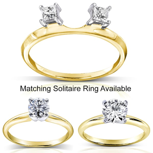 Annello by Kobelli 14k Two-tone Gold Princess Cut Diamond Wrap or Round Cut Solitaire Ring