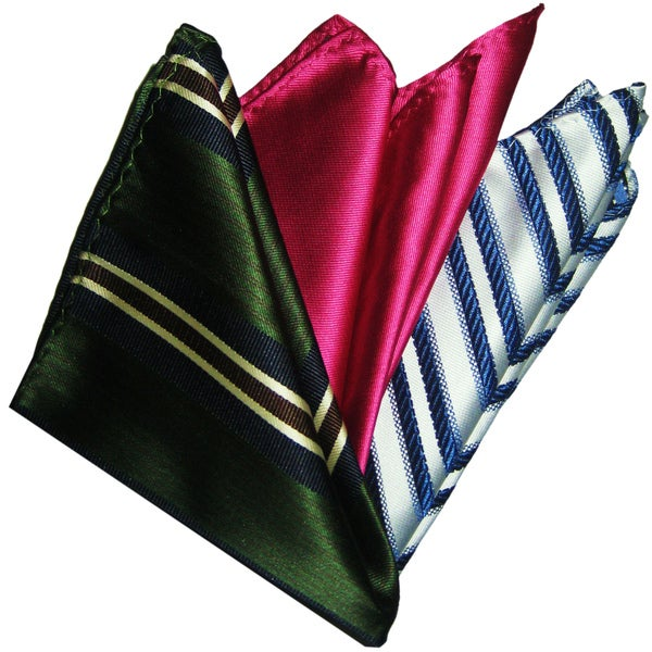 Dmitry Men's Italian Silk Pocket Squares (Pack of Three)