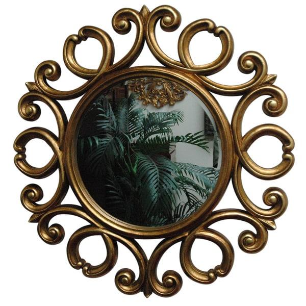 Gold Finish Round Transitional Framed Mirror