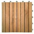Premier Acacia Interlocking Deck Tile with 8 Slat Design in Teak Finish