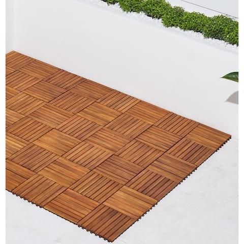 Vifah Premier Teak-finished Acacia 8-slat Interlocking Deck Tiles (Set of 10)