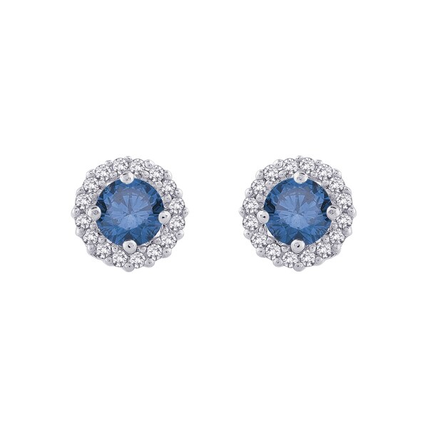 14k Gold 1/2ct TDW Blue and White Diamond Halo Earrings (G-H, I2-I3)