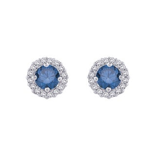 14k Gold 1/2ct TDW Blue and White Diamond Halo Earrings (G-H, I2-I3)