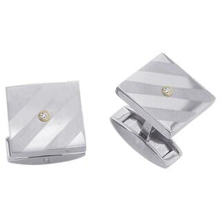 Titanium Men's Diamond Accent Square Cuff Links