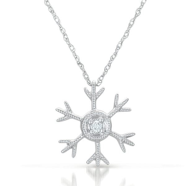 10k White Gold Diamond Snowflake Pendant (GH, I2)