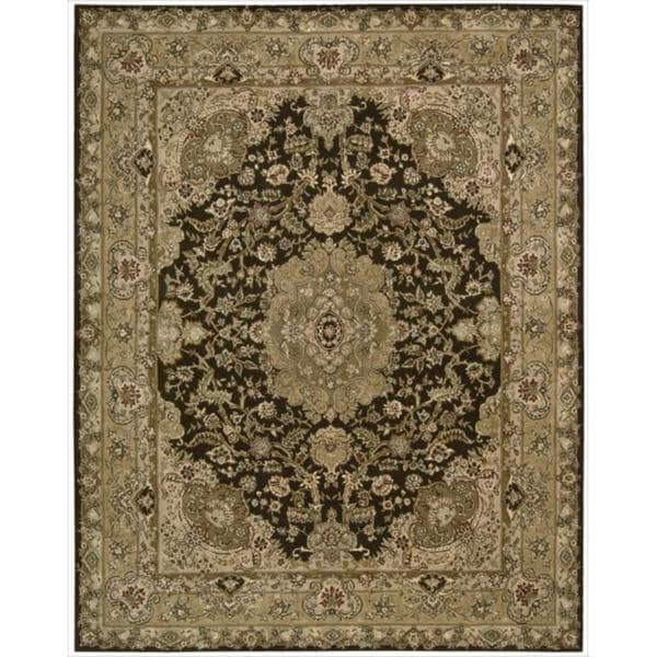 Nourison 2000 Hand-tufted Panel Chocolate Rug (8'6 x 11'6)