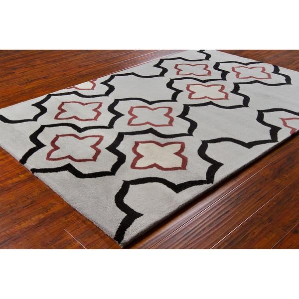 "Allie Handmade Geometric Gray Contemporary Wool Rug - 5' x 7' 6"""