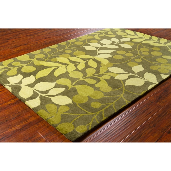 Shop Allie Handmade Floral Green Lime Green Wool Rug 5