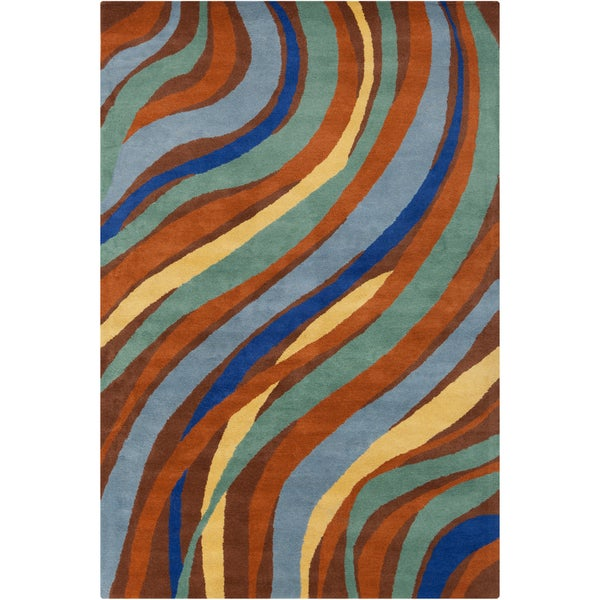 Allie Handmade Multicolor Abstract Wool Rug - 5' x 7'6""