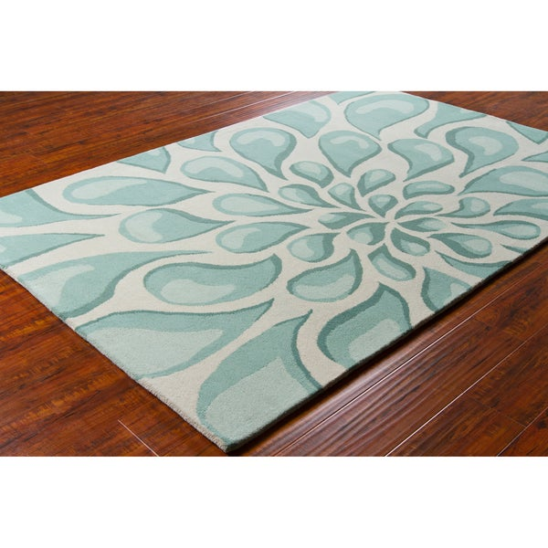 Handmade Allie Abstract Blue/ Grey Wool Rug - 5' x 7'6