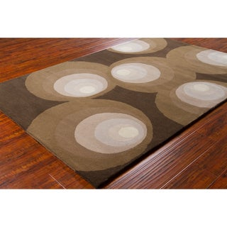 Allie Handmade Geometric Brown Wool Rug - 5' x 7'6""