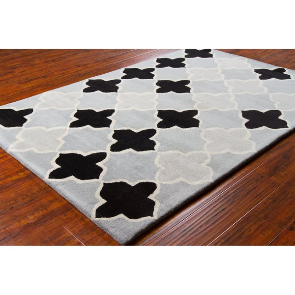 "Allie Handmade Geometric Gray/Black Wool Rug - 5' x 7'6"""