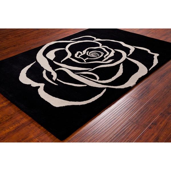 Allie Handmade White Rose Wool Rug (5' x 7'6)
