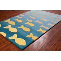 "Allie Handmade Fish Pool Wool Rug - 5' x 7'6"""