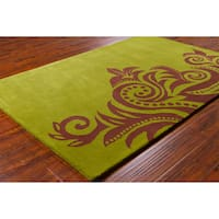 Allie Handmade Abstract Green Wool Area Rug - 5' x 7'6""