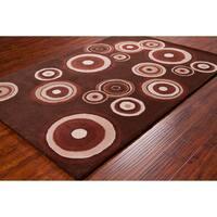Allie Handmade Geometric Circles Wool Rug - 5' x 7'6