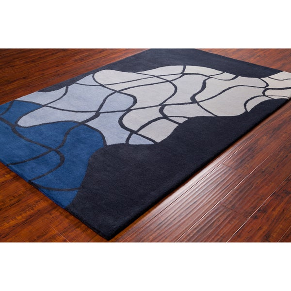 Allie Handmade Geometric Blue/ Grey Wool Rug (5' x 7'6)