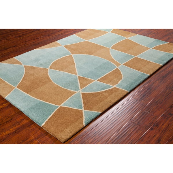"""Allie Handmade Abstract Contemporary Brown/Blue Wool Rug (5' x 7' 6"""")"""