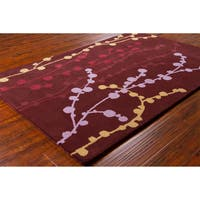 Transitional Allie Handmade Floral Wool Rug - 5' x 7'6