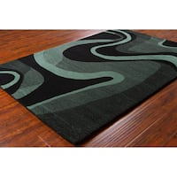 Allie Handmade Geometric Black/ Teal Wool Rug - 5' x 7'6""