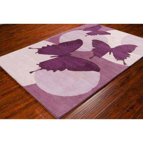Allie Handmade Butterfly Wool Rug - 5' x 7'6