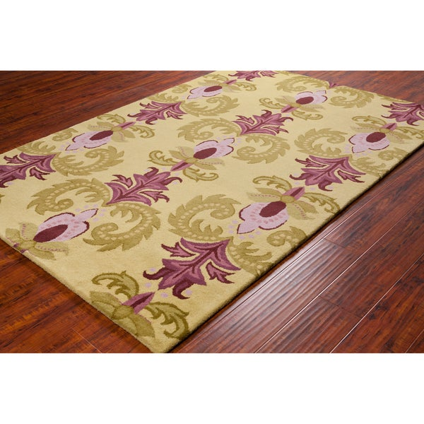 Shop Handmade Allie Floral Green/ Purple Wool Rug