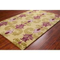 Handmade Allie Floral Green/ Purple Wool Rug - 5' x 7'6