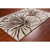 Allie Handmade Hibiscus Flower Wool Rug - multi
