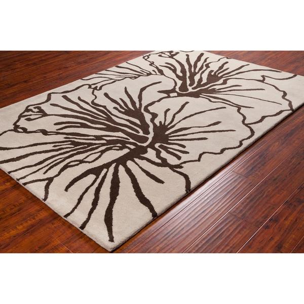 Allie Handmade Hibiscus Flower Wool Rug - 5' x 7'6