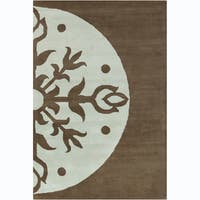 Allie Handmade Abstract Brown/ Blue Wool Rug - 5' x 7'6""