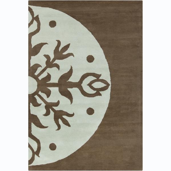 "Allie Handmade Abstract Brown/ Blue Wool Rug - 5' x 7'6"""