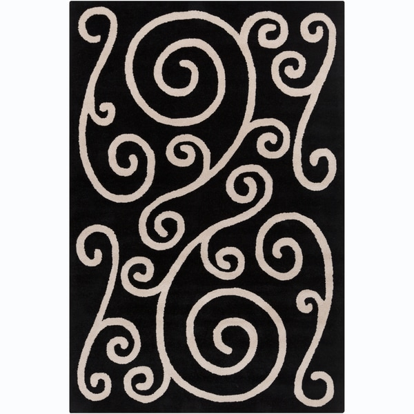 Allie Handmade Black Wool Rug - 5' x 7'6""