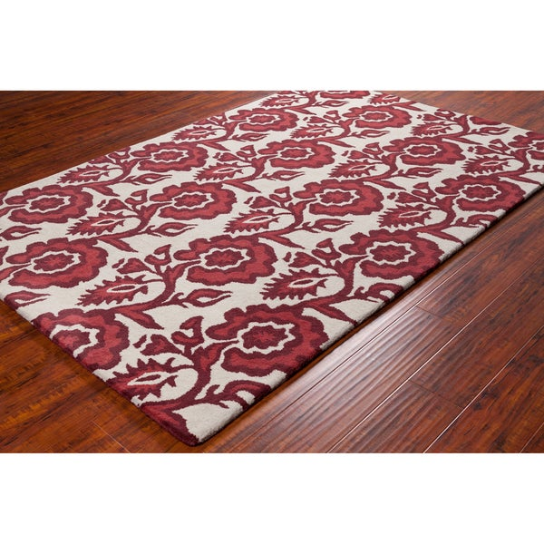 Allie Handmade White Floral Wool Rug (5' x 7'6)
