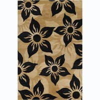 "Modern Allie Handmade Floral Wool Rug - 5' x 7'6"""