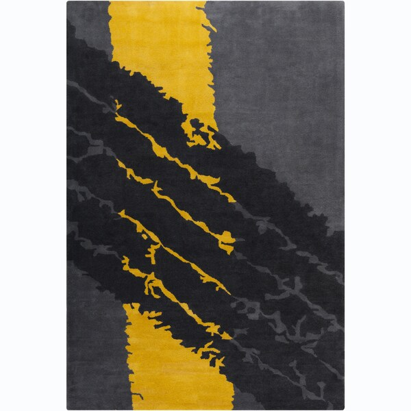 "Allie Handmade Abstract Grey/Yellow/Black Wool Rug - 5' x 7'6"""