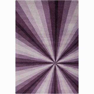 Allie Handmade Abstract Purple/ Lavender Wool Rug (5' x 7'6)