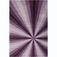 Allie Handmade Abstract Purple/ Lavender Wool Rug - 5' x 7'6""