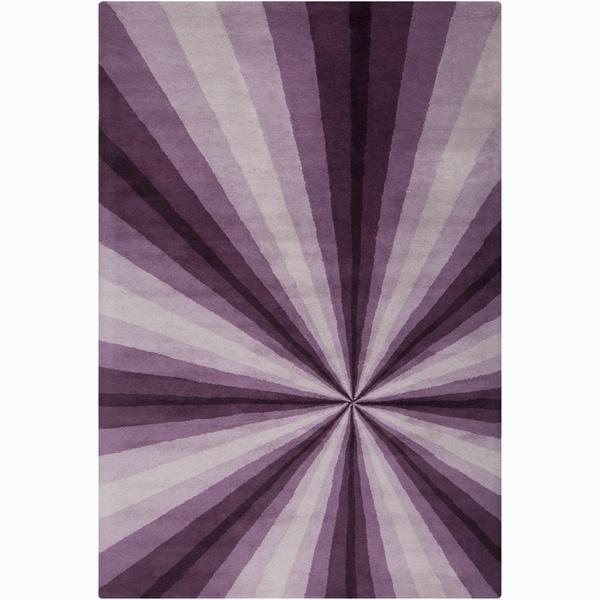 "Allie Handmade Abstract Purple/ Lavender Wool Rug - 5' x 7'6"""