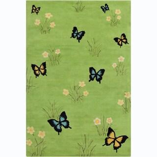 Allie Handmade Butterflies Wool Rug (5' x 7'6)