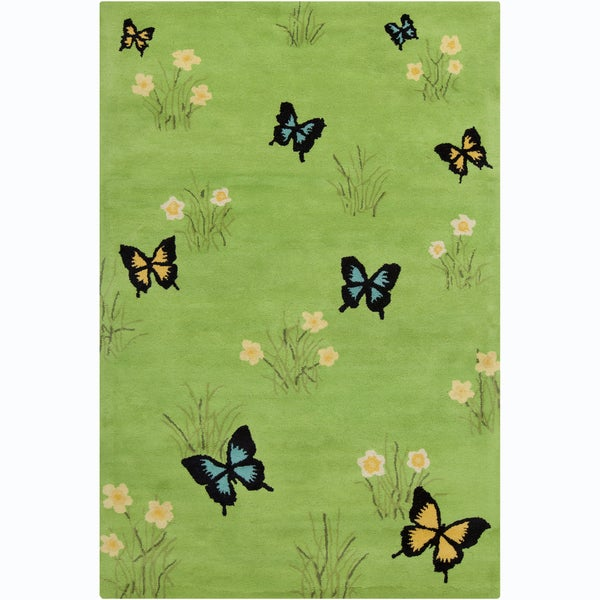 Allie Handmade Butterflies Wool Rug (5' x 7'6)
