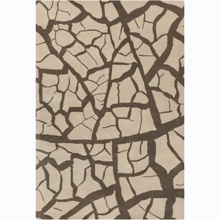 Allie Handmade Abstract Beige and Brown Wool Rug (5' x 7'6)