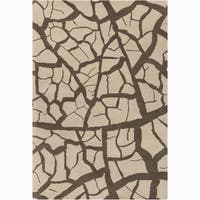 """Allie Handmade Abstract Beige and Brown Wool Rug - 5' x 7'6"""""""