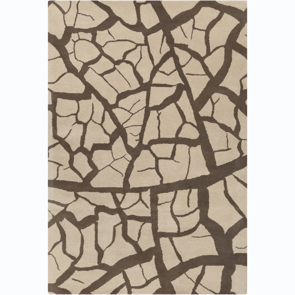 Allie Handmade Abstract Beige and Brown Wool Rug - 5' x 7'6""